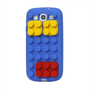 Building Block Silicone Case Cover for Samsung Galaxy S 3 / III I9300 I747 L710 T999 I535 R530 - Dark Blue