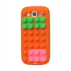 Building Block Silicone Case Cover for Samsung Galaxy S 3 / III I9300 I747 L710 T999 I535 R530 - Orange