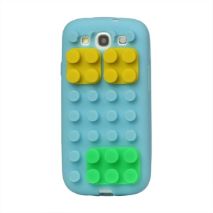 Building Block Silicone Case Cover for Samsung Galaxy S 3 / III I9300 I747 L710 T999 I535 R530 - Light Blue