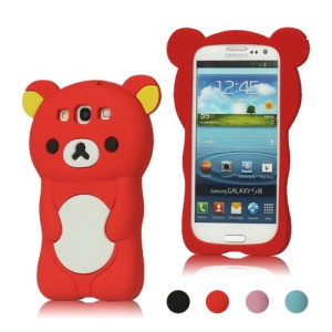 3D Rilakkuma Bear Silicone Cover for Samsung Galaxy S 3 / III I9300 I747 L710 T999 I535 R530;Red