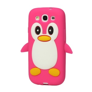 Lovely Penguin Silicone Cover for Samsung Galaxy S 3 / III I9300 I747 L710 T999 I535 R530 - Rose