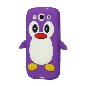 Lovely Penguin Silicone Case for Samsung Galaxy S 3 / III I9300 I747 L710 T999 I535 R530 - Purple