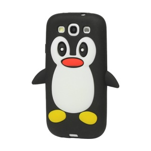 Lovely Penguin Silicone Case for Samsung Galaxy S 3 / III I9300 I747 L710 T999 I535 R530 - Black