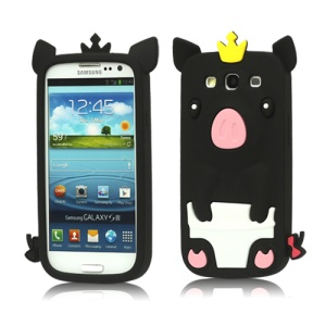 Cute Pig Silicone Back Case for Samsung Galaxy S 3 / III I9300 I747 L710 T999 I535 R530 - Black