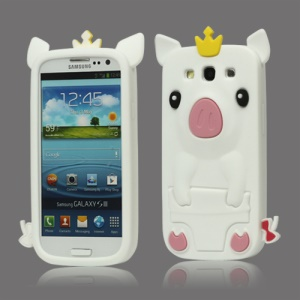 Cute Pig Silicone Back Case for Samsung Galaxy S 3 / III I9300 I747 L710 T999 I535 R530 - White
