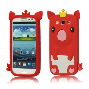 Cute Pig Silicone Back Case for Samsung Galaxy S 3 / III I9300 I747 L710 T999 I535 R530 - Red