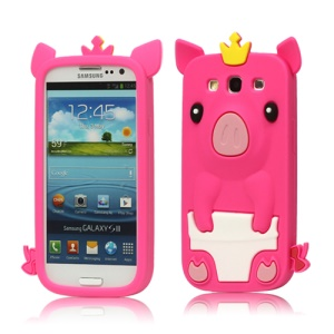 Cute Pig Silicone Back Case for Samsung Galaxy S 3 / III I9300 I747 L710 T999 I535 R530 - Rose