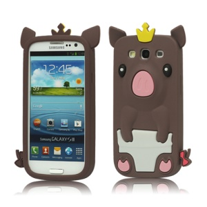Cute Pig Silicone Back Case for Samsung Galaxy S 3 / III I9300 I747 L710 T999 I535 R530 - Brown