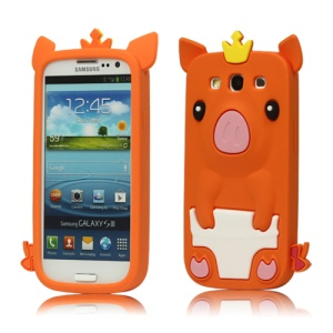 Cute Pig Silicone Back Case for Samsung Galaxy S 3 / III I9300 I747 L710 T999 I535 R530 - Orange