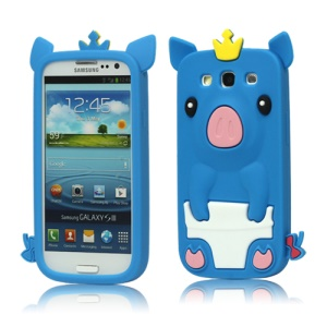 Cute Pig Silicone Back Case for Samsung Galaxy S 3 / III I9300 I747 L710 T999 I535 R530 - Blue