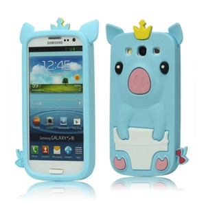 Cute Pig Silicone Back Case for Samsung Galaxy S 3 / III I9300 I747 L710 T999 I535 R530 - Light Blue