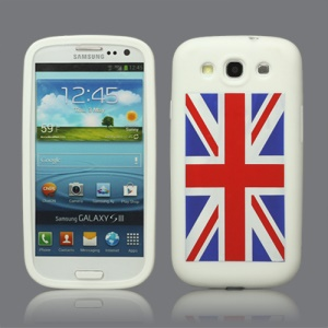 Union Jack Flag Silicone Case for Samsung Galaxy S 3 / III I9300 I747 L710 T999 I535 R530 - White