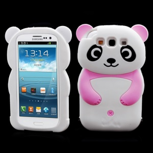 Lovely 3D Panda Silicone Protective Case for Samsung Galaxy S 3 / III I9300 - Rose