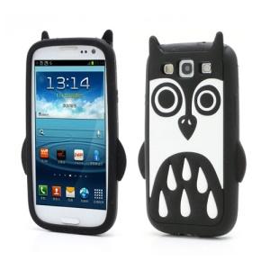 Adorable Owl Design Silicone Skin Case for Samsung Galaxy S3 i9300 SGH-T999 - Black