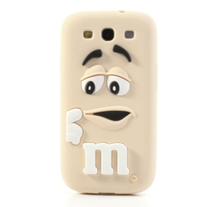PIZU M&M Chocolate Bean Silicone Case for Samsung Galaxy S iii I9300 - Beige