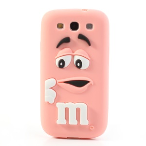PIZU M&M Candy Bean Fragrance Silicone Cover for Samsung Galaxy S iii S3 I9300 - Pink