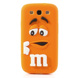 PIZU M&M Candy Bean Fragrance Silicone Shell for Samsung Galaxy S iii S3 I9300 - Orange
