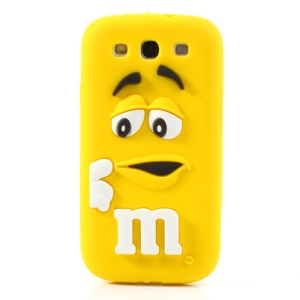 PIZU M&M Candy Bean Fragrance Silicone Shell for Samsung Galaxy S3 I9300 - Yellow