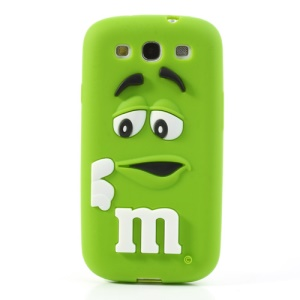 PIZU M&M Chocolate Bean Fragrance Silicone Case for Samsung Galaxy S3 I9300 - Green