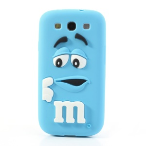 PIZU M&M Chocolate Bean Fragrance Silicone Case for Samsung Galaxy S3 I9300 - Baby Blue