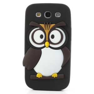 Black Novel 3D Owl Silicone Back Case for Samsung I9300 Galaxy S III