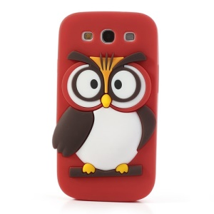 Red Novel 3D Owl Silicone Back Cover for Samsung I9300 Galaxy S III