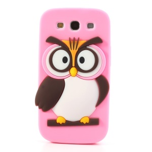 Pink for Samsung I9300 Galaxy S III Novel 3D Owl Silicone Shell Case