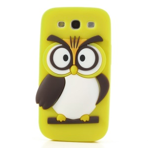 Yellow Novel 3D Owl for Samsung I9300 Galaxy S III Silicone Protector Case