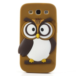 Brown Novel 3D Owl for Samsung I9300 Galaxy S III Silicone Protector Shell