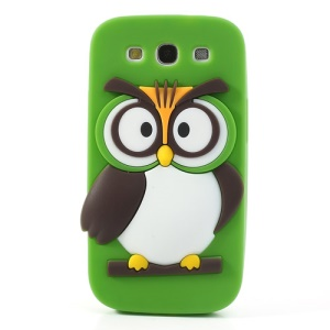 Green Novel 3D Owl for Samsung I9300 Galaxy S III Soft Silicone Back Cover