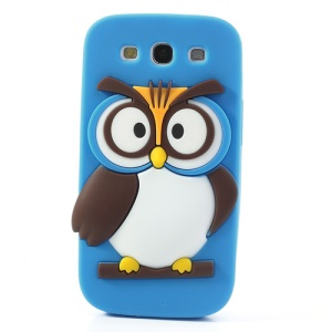 Blue Novel 3D Owl Soft Silicone Back Case for Samsung I9300 Galaxy S III