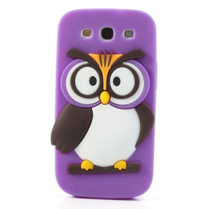 Purple Novel 3D Owl Silicone Back Shell Case for Samsung I9300 Galaxy S III