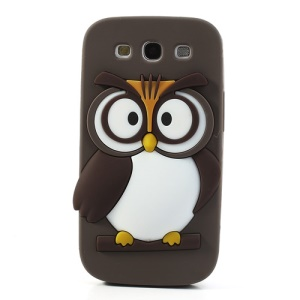 Coffee Novel 3D Owl Silicone Protective Back Case for Samsung I9300 Galaxy S III