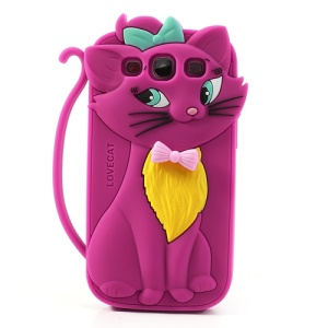 Rose Cute 3D Bow Tie Cat Silicone Back Case for Samsung I9300 Galaxy S III