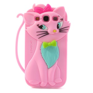 Pink Cute 3D Bow Tie Cat Silicone Back Case for Samsung I9300 Galaxy S III
