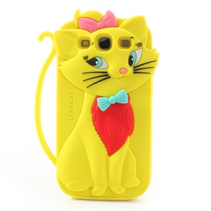 Yellow Cute 3D Bow Tie Cat Silicone Case for Samsung I9300 Galaxy S3