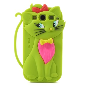 Green Cute 3D Bow Tie Cat Silicone Case for Samsung I9300 Galaxy S3