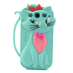 Cyan Cute 3D Bow Tie Cat Silicone Cover for Samsung Galaxy S3 I9300