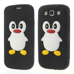 Penguin Suction Cup Silicone Flip Case for Samsung Galaxy S3 I9300 R530 I747 L710 T999 I535 - Black