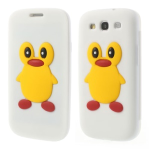 Penguin Suction Cup Folio Silicone Case for Samsung Galaxy S3 I9300 - White