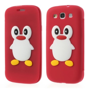 Penguin Suction Cup Front & Back Silicone Case for Samsung Galaxy S3 I9300 - Red