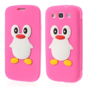 Penguin Suction Cup Silicone Flip Cover for Samsung Galaxy S3 I9300 - Rose