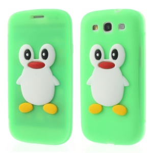 Penguin Suction Cup Folio Silicone Case Shell for Samsung Galaxy S3 I9300 - Green