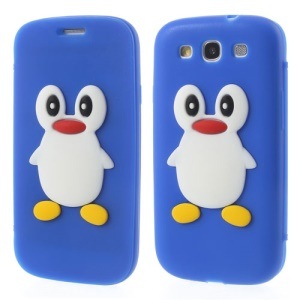Penguin Suction Cup Folio Silicone Cover for Samsung Galaxy S3 I9300 SCH-I535 - Dark Blue