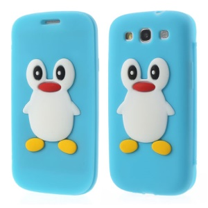 Penguin Suction Cup Folio Silicone Cover for Samsung Galaxy S3 I9300 SGH-I747 - Baby Blue