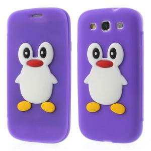 Penguin Suction Cup Silicone Flip Cover for Samsung Galaxy S3 I9300 SGH-I747 - Purple