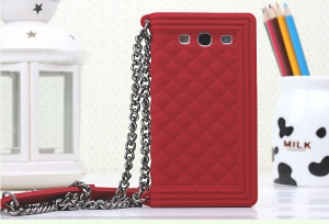 Red Grid Pattern Silicone Gel Shell Cover for Samsung I9300 Galaxy S III