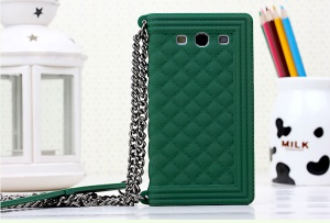 Green Silicone Protector Case for Samsung I9300 Galaxy S III Grid Pattern