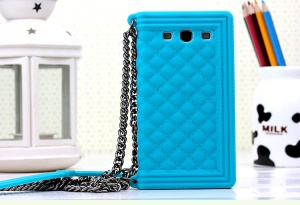 Baby Blue for Samsung I9300 Galaxy S III Silicon Phone Cover Grid Pattern