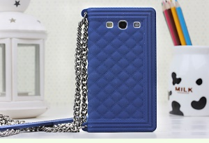 Dark Blue for Samsung I9300 Galaxy S III Silicone Back Cover Grid Pattern